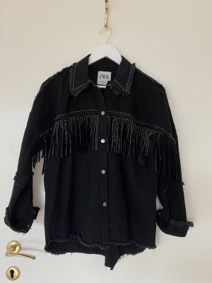 Zara Denim Jacket black-silver-colored