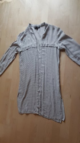 Athmosphere Robe chemise argenté-blanc tissu mixte