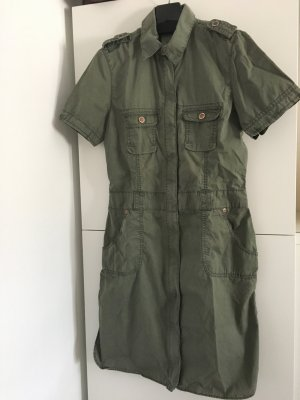 Hemdkleid, Blusenkleid olivgrün, Military look