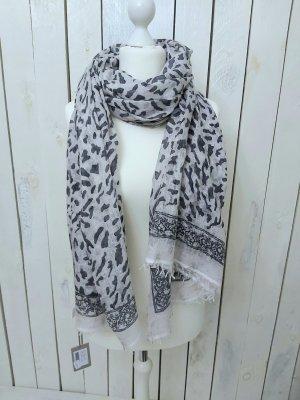 Hemisphere Bufanda de lana gris claro-gris antracita