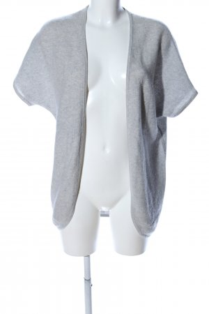 Hemisphere Short Sleeve Knitted Jacket light grey flecked casual look