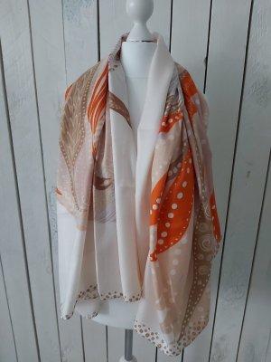 Hemisphere Silk Scarf beige-orange