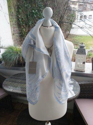 Hemisphere Bufanda de seda blanco-azul celeste