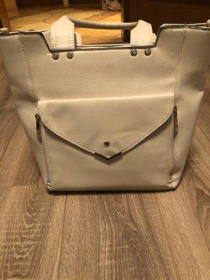 Henkel Handtasche in beige mit Reißverschluss aus Italien