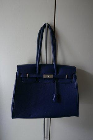 Bolso barrel azul oscuro-blanco puro Cuero