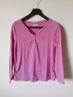 Henley-Shirt von Tommy Hilfiger Gr. M in Himbeer-Rot Melange