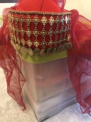 Chapeau en tissu rouge-doré