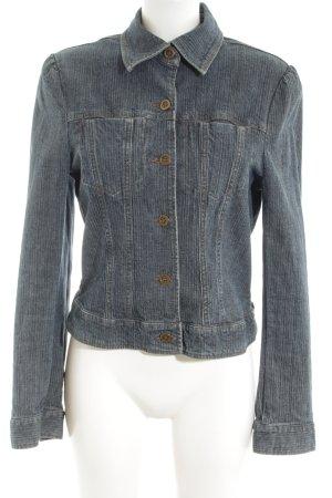 Hennes Jeansjacke hellgrau-silberfarben Streifenmuster Casual-Look