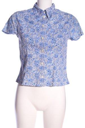 Hennes Kurzarmhemd blau-weiß Allover-Druck Casual-Look