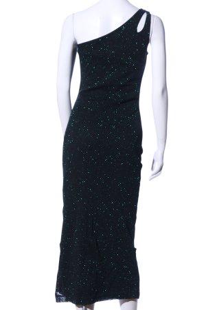Hennes Vestido de un hombro negro-verde moteado elegante