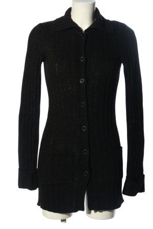 Hennes Płaszcz z dzianiny czarny Wzór w paski W stylu casual