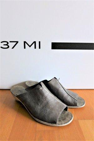 Henry Beguelin Boho Schuhe Ledersandale Sandalette grau taupe Gr. 37