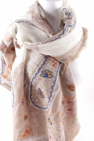 Henry Christ Fringed Scarf mixed pattern casual look