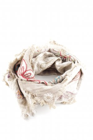 Henry Christ Fringed Scarf natural white-cream flower pattern casual look