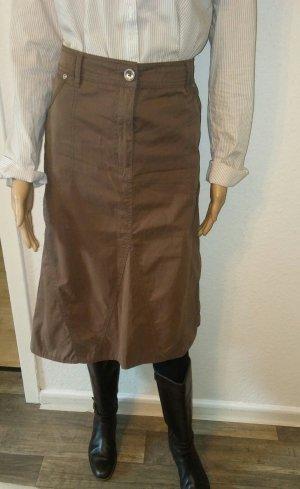 Bonita Asymmetry Skirt brown-light brown cotton
