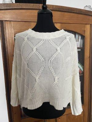 Herbst Frühling Pullover in Zopfmuster mit Kimonoärmeln / Weiten Ärmeln