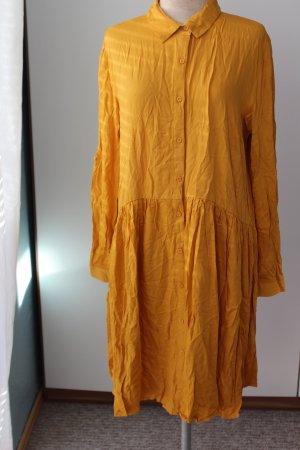Herbst Kleid senfgelb safran goldorange neu Gr. 40 42 Langarm