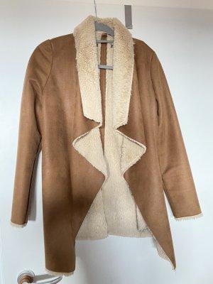 Manteau polaire blanc-brun