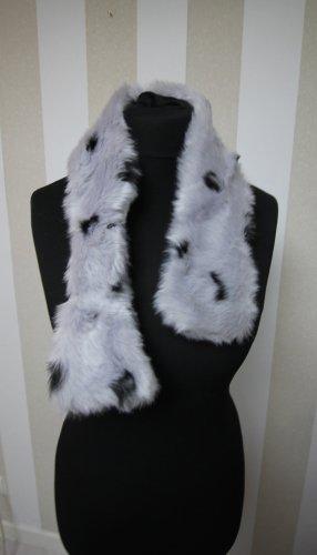 Gebreide sjaal zwart-lichtgrijs