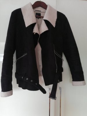 Even & Odd Fake Fur Jacket white-black polyester