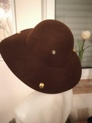 Chapeau en feutre doré-brun