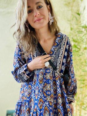 Herbstkleid Kleid Kleidchen blau ziegelrot one size  34 36 38 40 S M L