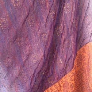 herbstlicher breiter Schal Pashmia orange violett Herbstfarben