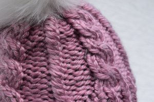 Handmade Sombrero de punto blanco-violeta