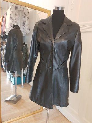 Vintage Manteau en cuir noir cuir