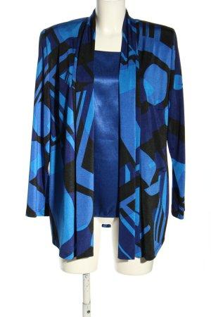 Hermann Lange Collection Jersey twin set blauw grafisch patroon