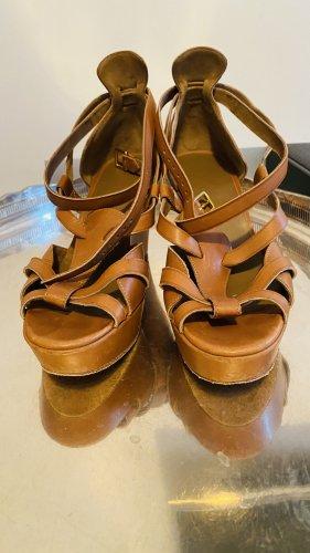 Hermès Sandały rzymskie camel-złoto