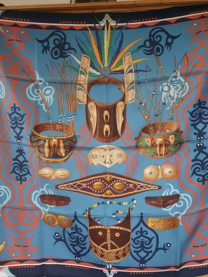 Hermès Bufanda de seda azul oscuro