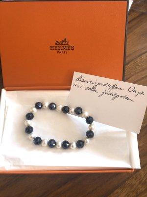 Hermès Bracelet en perles blanc-noir