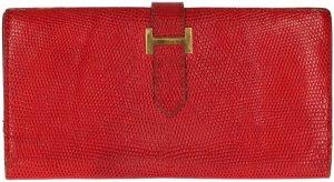 Hermès Béarn Brieftasche, Geldbörse, Portemonnaie aus Varanus Niloticus Leder, Echsenleder in Rot