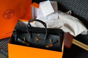 Hermès Birkin Tasche 35 Schwarz Togo mit goldenen Beschlägen mit Original Rechnung