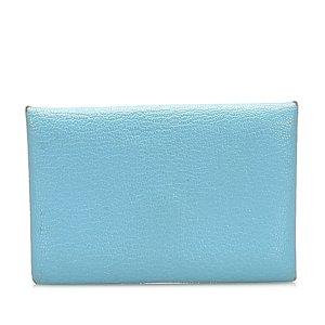 Hermès Kaartetui lichtblauw Leer