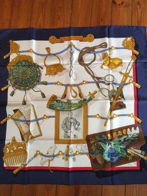 Hermès Écharpe en soie bleu foncé-blanc