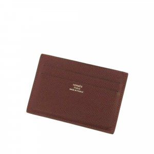 Hermès Card Case brown leather
