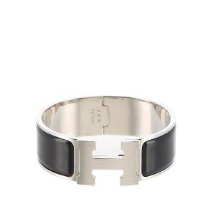 Hermès Pulsera negro plata verdadero