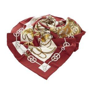Hermès Scarf brown red silk