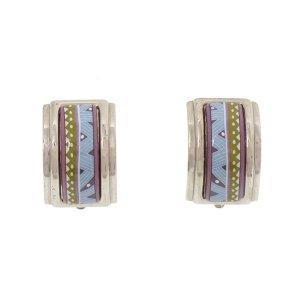 Hermes Cloisonne Clip On Earrings