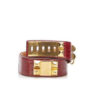Hermès Cinturón rojo piel de reptiles