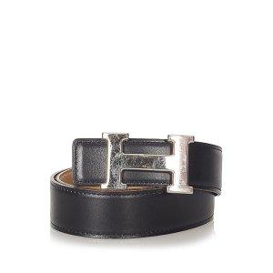 Hermès Riem zwart Leer