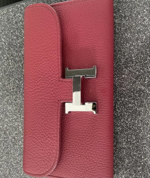 Hermès Wallet red-dark red leather