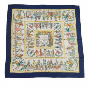 Hermes Costumes Civils Actuels Silk Scarf