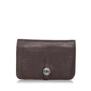 Hermès Wallet dark brown leather