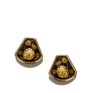 Hermes Enamel Clip On Earrings