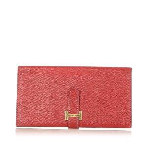 Hermès Portmonetka czerwony Skóra