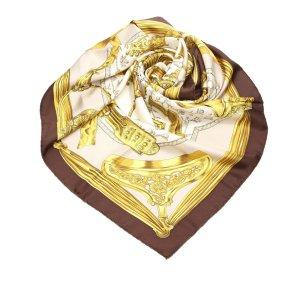 Hermès Bufanda color oro Seda