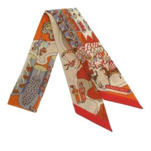 Hermès Bufanda naranja Seda